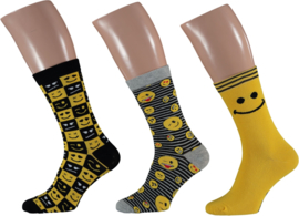 Apollo Smiley Emoji Socks Geel | 3-Pack Giftbox | Maat 41-46