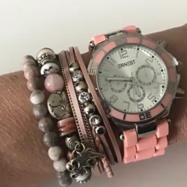 Roze horloge set met 3 armbanden