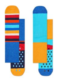 Happy Socks 2-Pack Antislip, Stripe Blauw,  6-12 maanden, schoenmaat 15-18