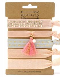 Elastische Hair Tie of Armbanden | Pink B0079
