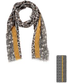 Sarlini Dames sjaal Leopard en Flowers Okergeel