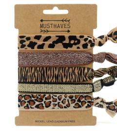 Elastische Hair Tie of Armbanden | Animal Brown C0195