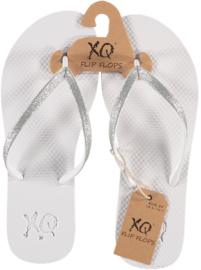 Flip flops Dames | Teenslippers Wit met zilver glitters