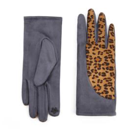 Dames handschoenen Dark Grey met Tijgerprint