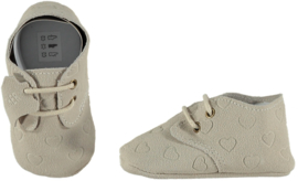 XQ Leren babyschoentjes Antique White Hearts