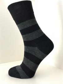 Boru Bamboo Design Stripe Sock | 2-Pack | Zwart/Grijs