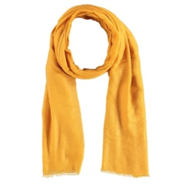 Sarlini lange Dames sjaal met subtiele bronzen glanslook   Okergeel