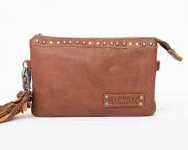 Bag2Bag   Tasje / wallet / Clutch Pedy Cognac met studjes
