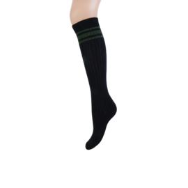 Teckel Dames Kniekousen | Zwart met army groene strepen