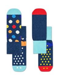 Happy Socks 2-Pack Antislip, Big Dot,  2-3 jaar, Maat 24-26