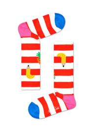 Happy Socks Kids Fruit Striped Rib Sock