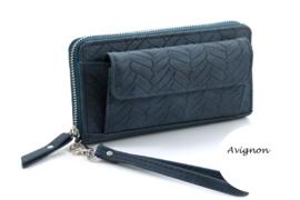 Blauw kleurige snake portemonnee met voorvak