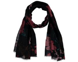 Sarlini Lange zwarte Dames sjaal met bloemen