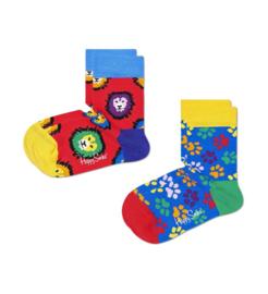 Happy Socks Kids 2-Pack Lion & Animal Feet