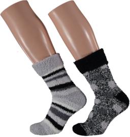 HomeSocks Dames Stripes & Dots | 2-Pack Grijs/Zwart