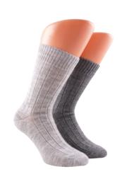 Boru Lamswollen sokken | 2-Pack | Lichtgrijs & Grijs