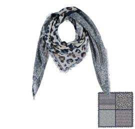 Sarlini Vierkante blauwe Dames sjaal Leopard