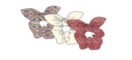 Sarlini Haarelastiek Scrunchies Denim Pink met strik | 3 stuks
