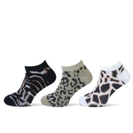 Teckel Dames sneakersok Low Animal 3-Pack Maat 36/42