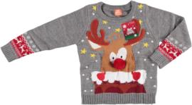Sarlini Kinder Kerst Trui Rudolf Grijs