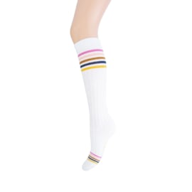 Yellow Moon Kniekous Off white met Multi Pride Pastel strepen