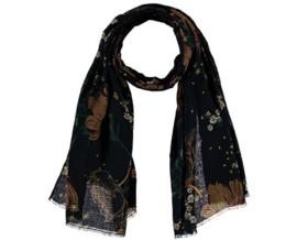 Sarlini Lange blauwe Dames sjaal met bloemen