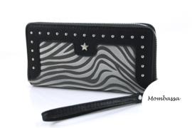 Zwart/Grijze zebra portemonnee Mombassa