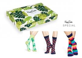 Happy Socks 3-Pack Gift box, Jungle Leaves & Strawberry