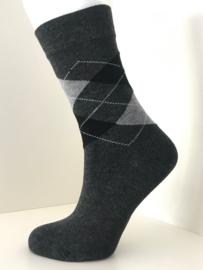 Boru Bamboo Design Square Argyle Sock | 2-Pack | Grijs