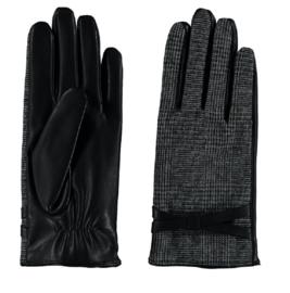 Sarlini fijn gebreide zwarte Dames handschoen met riempje