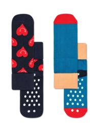 Happy Socks 2-Pack Antislip, Smiley Heart,  2-3 jaar, Maat 24-26