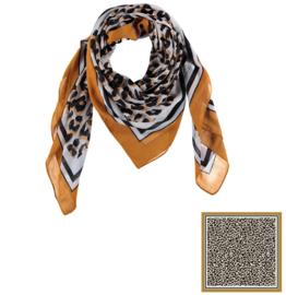 Sarlini Vierkante Dames sjaal Leopard Okergeel
