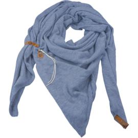 """Royale driekhoek sjaal """"Fien"""" met stoer leren bandje, Lavendel"""