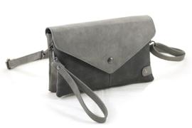 Donker grijs 2-kleur schoudertasje | clutch Cannes