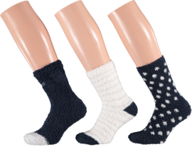 HomeSocks Dames Stripes & Dots | 3-Pack Blauw/Wit