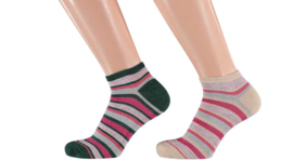 Sarlini Fashion Dames Low Sneakersok Stripes Pink | 2-Pack | Maat 36-41