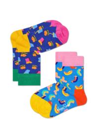Happy Socks Kids 2-pack Hamburger Sokken