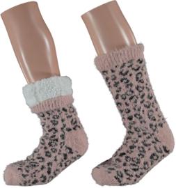 HomeSocks Antislip Leopard Roze