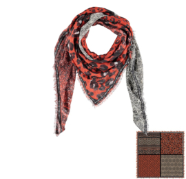 Sarlini Vierkante Orange Dames sjaal Leopard