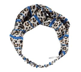 Sarlini Fashion Elastische haarband Bow | Leopard Blauw