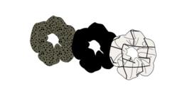 Sarlini Haarelastiek Scrunchies Zwart / Olive | 3 stuks