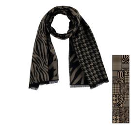 Sarlini lange Dames Sjaal Zebra Zwart/Camel
