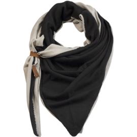 Lot83 driehoek sjaal Fien Twin met stoer leren bandje, Grey/Black
