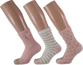 HomeSocks Dames Stripes & Dots | 3-Pack Roze/Wit