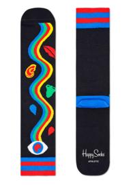 Happy Socks Athletic Rainbow Trip Crew Sock Zwart