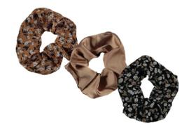 Sarlini Haarelastiek Scrunchies Multi Oker Flower | 3 stuks