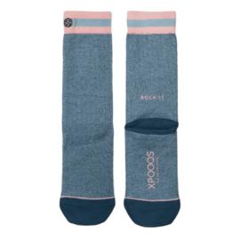 XPooos Essential Bamboo Sokken Coro Blauw/Salmon Mel. 77002