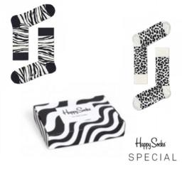 Happy Socks 2-Pack Gift box, Zebra & Leopard, Maat 41/46