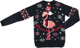 Sarlini Dames Kerst Trui  | Flamingo Donkerblauw