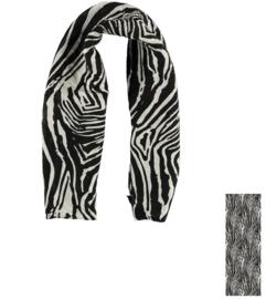 Sarlini Dames Plisé sjaal Zebra Zwart/Wit